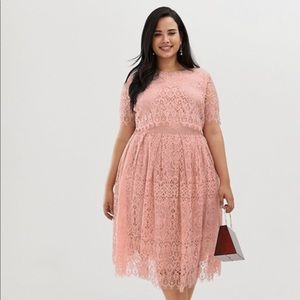 ASOS Design Curve Lace Midi Prom Dress